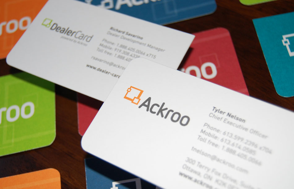 Ackroo and DealerCard business cards