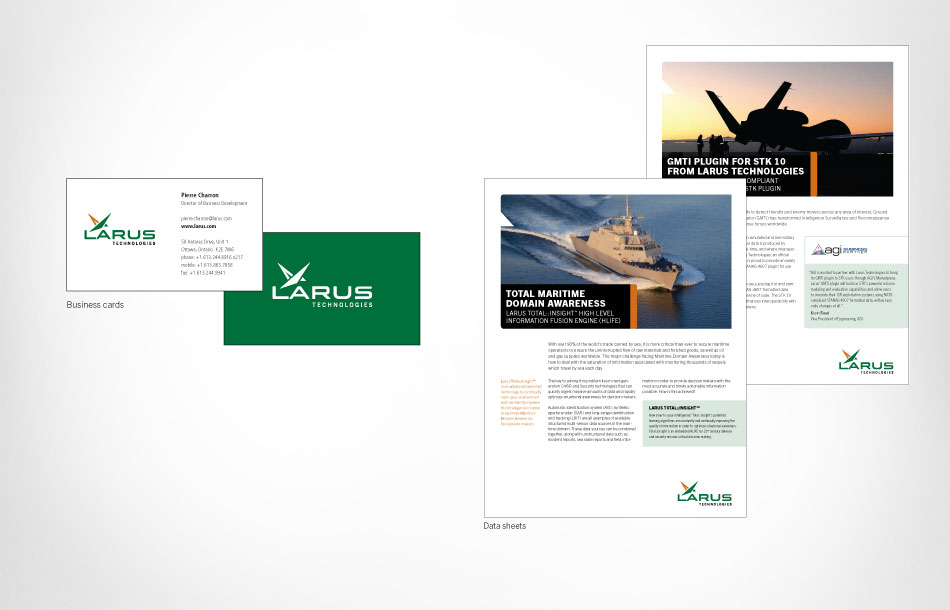 Larus business cards and data sheet