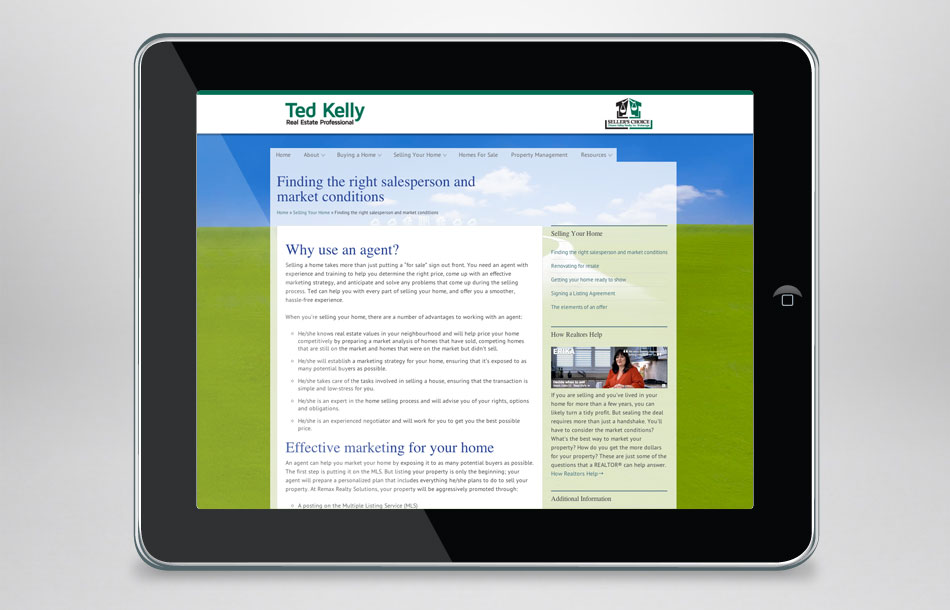 Ted Kelly Seller's Choice Real Estate web page sample